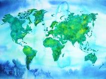 Målning för vattenfärg för signal för blå gräsplan för världskarta på pappers- handteckning Arkivbild