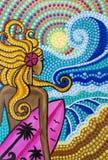 Målning flickasurfare på stranden med surfingbrädan, ljusa färger stock illustrationer