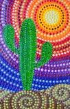 Målning kaktus med mandalaen på en ljus bakgrund stock illustrationer