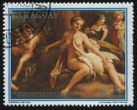 Målning Leda och svanen vid Correggio Royaltyfria Bilder