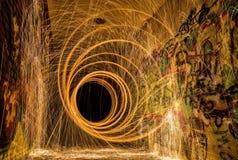 Målning och grafitti för ljus för spiral för virvel för stålull Royaltyfri Foto