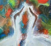 Målning oljamålning, olika färger av bakgrunden, kranar, fågelhuvud stock illustrationer