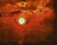 Målning på kanfas av solnedgången vektor illustrationer