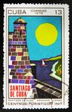 målning Santiago de Cuba av Armando Alonso, turist- mitt för serie, circa 1970 Arkivbilder