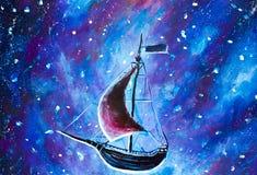 Målning som flyger ett gammalt, piratkopierar skeppet Havsskeppet flyger ovanför stjärnklar himmel En saga, en dröm panna peter i Royaltyfria Bilder