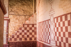 Målningar för jesuitbeskickningvägg i San Jose de Chiquitos, Bolivia arkivbilder