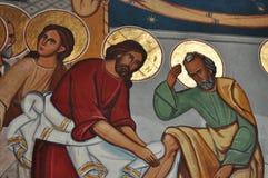 MÅLNINGAR för Jesus Washes His Disciplesâ €™fot royaltyfri foto