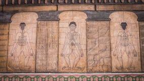 Målningar från templet Wat Pho undervisar akupunktur och Far East medicin Royaltyfri Bild