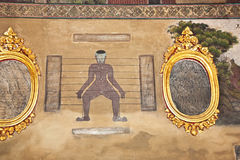 Målningar i templet Wat Pho undervisar akupunktur och den Far East medicien Fotografering för Bildbyråer