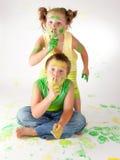 Målningen är rolig för ungar Arkivbild