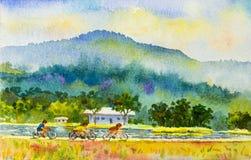 Målningfamiljkondition med rittcykeln i färgrikt av naturen Arkivbild