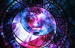 Målninggudinnakvinna och zodiak Datorcollage och marmorstruktur stock illustrationer