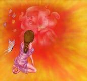 Målningillustration av en nätt knäfalla kvinna som omges, genom att flyga fjärilar och en stor vision Från min kvinna för serie`- royaltyfri illustrationer