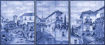 Målningkonst på tegelplattorna, Alhambra, Granada, Spanien Royaltyfria Bilder