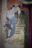 Målningkonst på tempelväggen arkivfoton
