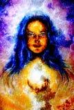 Målningkvinna med långt blått hår som rymmer a stock illustrationer