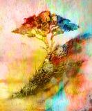 Målningsolnedgång, hav och träd, tapetlandskap vektor illustrationer