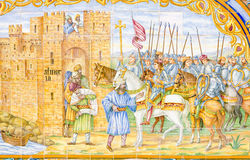 målningsseville tegelplatta royaltyfri foto