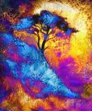 Målningträd, tapetlandskap och dekorativt Arkivbilder