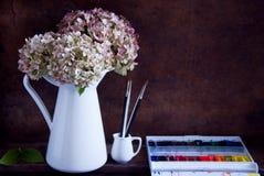 Målningvanlig hortensiablommor Arkivbild