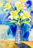 Målningvattenfärgen som är färgrik av skönhetbukett blommar lilly Royaltyfria Bilder