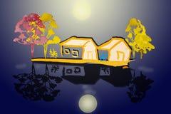 Målningvattenfärglandskap som är färgrikt av relaxdfamiljen i hem Royaltyfria Foton