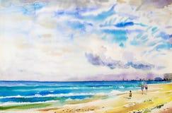 Målningvattenfärgseascape som är färgrik av familjen och att jogga Arkivbilder