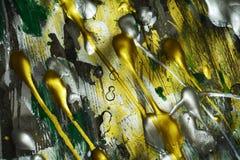 Målningvattenfärgtextur, mörka vita guld- gröna livliga skuggor för silver, abstrakt textur Royaltyfri Fotografi