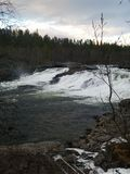 Målselvfossen Norways National Waterfall. Salmon stop place Royalty Free Stock Photo