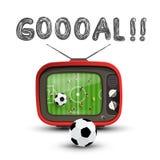 Målsymbol med fotbollsmatchen på Retro parallell tv royaltyfri illustrationer