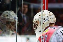 Målvakt Nikita Lozhkin för HC Metallurg Novokuznetsk Royaltyfria Bilder