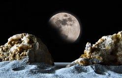 Mån- landskap för fantasi med himmel Arkivfoton