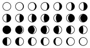 Mån-/månefascirkulering Alla 28 formerna för varje ny dag -, ful vektor illustrationer