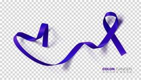 Månad för medvetenhet för koloncancer Mörkt - blått färgband som isoleras på genomskinlig bakgrund Colorectal cancer som för dels stock illustrationer