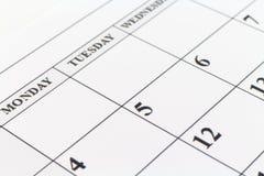 Månad för vecka för dag för stadsplanerare för kalenderdatum Royaltyfria Bilder