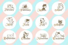 12 månad med tecknad filmhunden Royaltyfri Bild