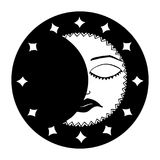 månad svart white vektor Royaltyfri Fotografi