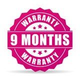 9 månader garantivektorsymbol Arkivbilder