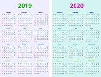 12 månader kalenderdesign 2019-2020 vektor illustrationer