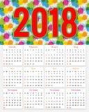 12 månader kalenderdesign 2018 Arkivbild