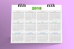 12 månader skrivbords- kalenderdesign 2018 Arkivfoton