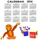 Månadkalendern för 2016 stock illustrationer