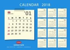 Månatlig kalender för ett år vektor Royaltyfri Fotografi