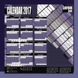 Månatlig kalender för vägg för 2017 år Fotografering för Bildbyråer