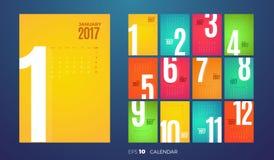 Månatlig kalender 2017 för vägg kantlagrar låter vara vektorn för oakbandmallen Arkivbild
