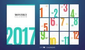 Månatlig kalender 2017 för vägg kantlagrar låter vara vektorn för oakbandmallen stock illustrationer