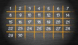 Månatlig kalender med 30 dagar royaltyfri illustrationer