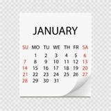Månatlig kalender 2018 med sidakrullningen Reva-avkalender för Januari Vit bakgrund Arkivbild