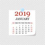 Månatlig kalender 2019 med sidakrullningen Reva-avkalender för Januari Vit bakgrund också vektor för coreldrawillustration stock illustrationer