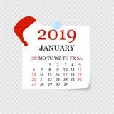 Månatlig kalender 2019 med sidakrullningen Reva-avkalender för Januari Vit bakgrund också vektor för coreldrawillustration vektor illustrationer